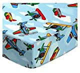 SheetWorld Fitted Crib / Toddler Sheet - Kiddie Airplanes - Made In USA