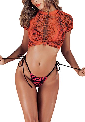 MOPOOGOSS 3PCS Swimsuit for Women Triangle Padded High Waist Printed Cheeky Thong Two Piece Bikini Set Summer Beachwear with Mesh Cover up Red S