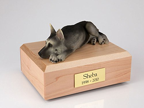 (Ever My Pet German Shepherd Laying Figurine Urn Black and Silver Large)