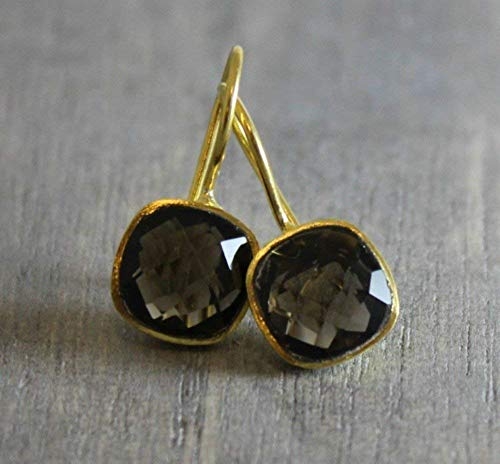 Cushion Cut Smoky Quartz Gold Plated Earrings Cushion Smokey Quartz Earring