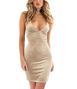 Zyyfly Doramode Womens Spaghetti Strap Bodycon Sleeveless Backless Velvet Sexy Short Club Dress