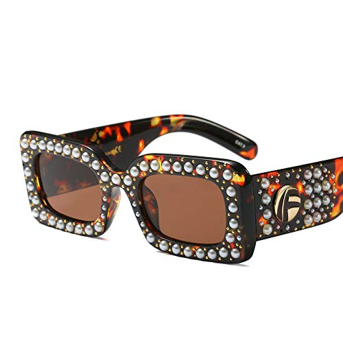 Sunglasses for Women Wide Bling Pearl Studded Square Frame (Tortoiseshell, 65) ()