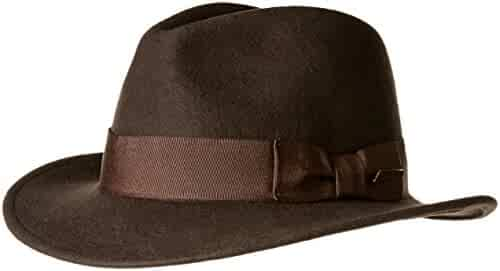 777020ffd9a7a Indiana Jones Men s Crushable Wool Fedora Hat Chocolate X-Large