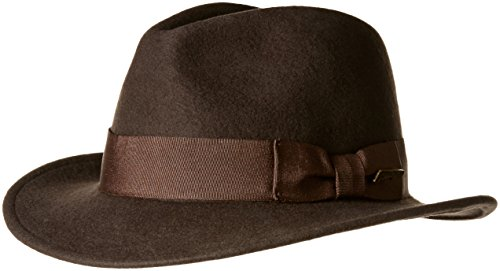 (Indiana Jones Men's Crushable Wool Fedora Hat Chocolate X-Large)