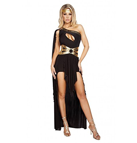 Roma Costume Women's 3 Piece Gorgeous Goddess, Black/Gold, Medium/Large -