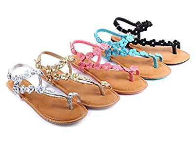Bamboo Fashion Buckle Casual Summer Flowers Shape Slingback Flats Womens Sandals Shoes New Without Box