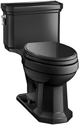 KOHLER K-3940-7 Kathryn Comfort Height Elongated One-Piece 1.28 GPF Toilet with Aqua Piston Flush Technology, Concealed Trapway and Left-Hand Trip Lever, Black