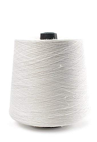 Linen Yarn Cone - 100% Flax Linen - 1 LBS - White Yarn - 1-PLY, 2-PLY, 3 PLY, 4-PLY - Sewing Weaving Crochet Embroidering (2-PLY)