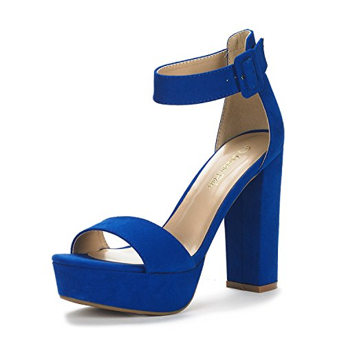 DREAM PAIRS Women's Hi-Lo Royal Blue High Heel Platform Pump Sandals - 7 M US
