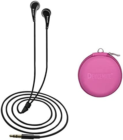 in-Ear Wired Earbuds Durable Earphones Headphones_Best Ear Buds Ear Phones for Cell Phone Smartphone Tablet MP3 MP4 CD DVD Player Laptop Notebook Computer. Earphone Case Pink DEVICEMATE SD 255