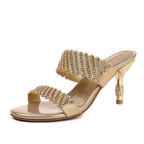Zapatillas de Imitación 7 Señoras de y Las Gold Diamantes de de Las y cm Sandalias Tacones Cuero de Sandalias Zapatillas Sandalias Sexy Señoras v5xSqS