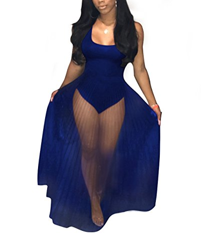 Bustier Jumpsuit (Women's Sleeveless See through Club Dress Sexy Romper Dress Bodysuits)
