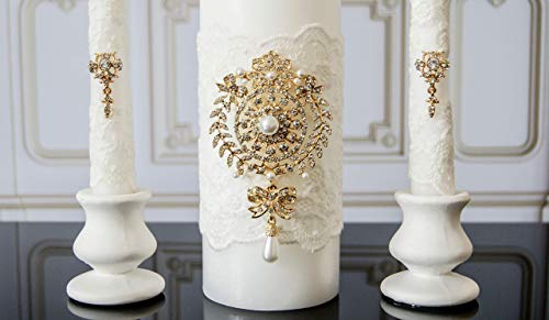White and gold lace unity candle set Crystal and pearl unity candle ceremony for - Lace Candle Unity