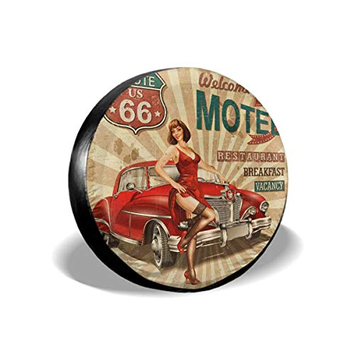 """Mugod Advertising Tire Covers Motel Route 66 Vintage Poster with Sexy Stockings Girl and Red Car Universal Waterproof Dust-Proof Wheel Covers for Jeep Trailer RV SUV Truck Vehicles 14"""""""