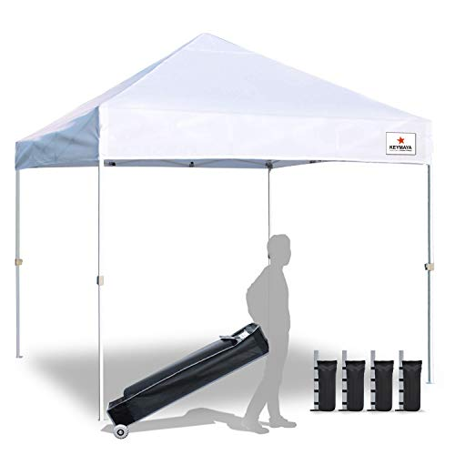 Keymaya 10x10 Ez Pop Up Canopy Tent Commercial Instant Shelter Canopies Bonus Heavy Duty Weight Bag 4-pc Pack (White)