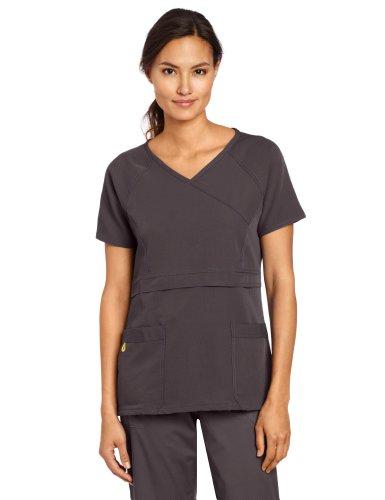 Raglan Wrap - WonderWink Women's Scrubs Four Way Stretch Raglan Sleeve Mock Wrap Top, Graphite, Medium