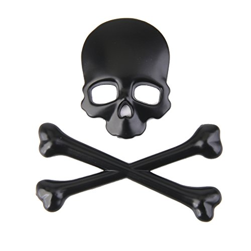 D DOLITY 3D Metal Skeleton Crossbones Car Motorcle Decal Sticker, Chrome Metal Badge Sticker Decal for Vehicle Car Motorcycle (Black)
