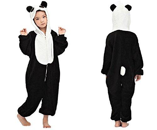SSJ Kigurumi Panda Style Costume [ for Kids ] Pajamas (47in-51in, Black-white) (Girls Panda Costume)