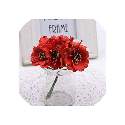 6pcs 3.5cm Mini Silk Cherry Artificial Poppy Bouquet DIY Handmade Tattoo Wreath Scrapbook Wedding Decoration Craft Fake Flower,Red