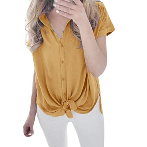 Trule Women Summer Solid Color Bow Short Sleeve Casual Pure Color Tees Cute Sexy Loose Tops Blouse ()