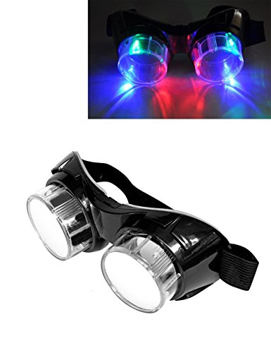 Luwint LED Flashing Glasses Vintage Goggles - Colorful Light Up Party Favors for Halloween Christmas Birthday Rave (Black)