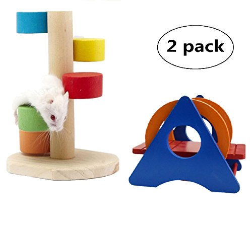 Hamster Toys,Wooden Scaling Ladder Rainbow Seesaw Swing Hanging Ladder Bridge for Hamsters,Fun Play Toy for Pet (Pack of 2)