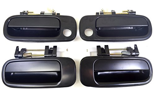 PT Auto Warehouse TO-3176S-QP - Outside Exterior Outer Door Handle, Smooth Black - Front Left/Right, Rear Left/Right