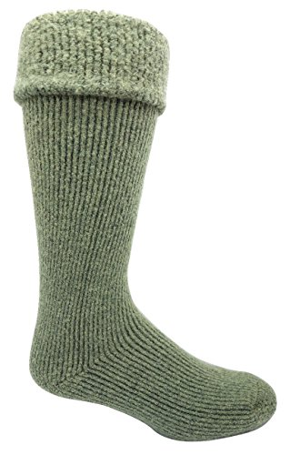 J.B. Icelandic -50 Below Ice Sock (Knee Length, Extra Warm Wool Cushion) - 2 Pairs (Large (8-12 Shoe), (Turn Down with Gumboot Cuff), Green)