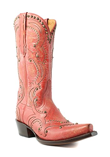 Lucchese M5111.s54 Kvinners Rød Distressed Maskinvare Skinn Cowboy Western Boots