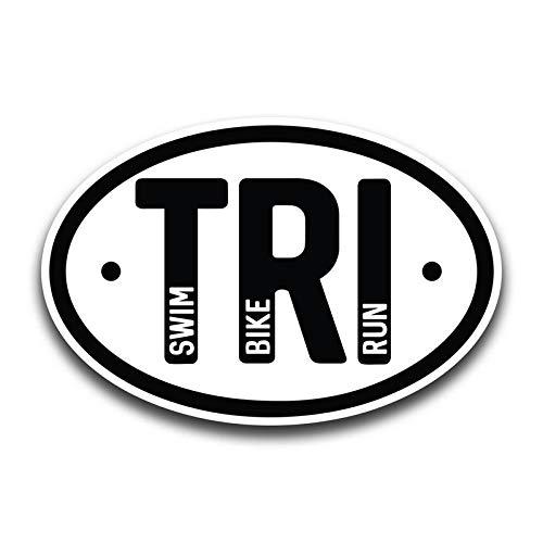 JMM Industries Triathalon TRI Swim Bike Run Vinyl Decal Sticker 2-Pack 4.5-Inches by 3.5-Inches Premium Quality Vinyl Sticker UV Protective Laminate ()