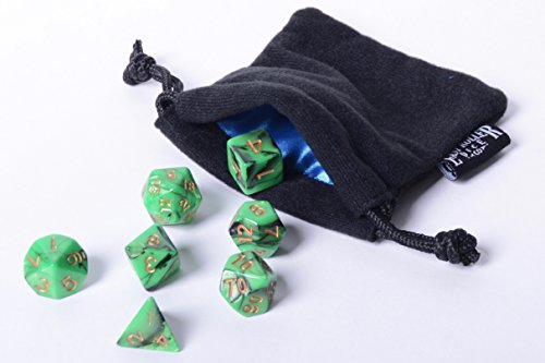 Emerald Swirl Polyhedral Dice Set | 7 Piece | PRISTINE Edition | FREE Carrying Bag | Hand Checked Quality