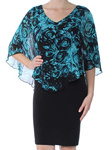 - Connected Apparel Womens Chiffon Floral Print Capelet Dress Black 10