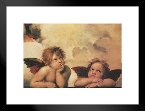 (Poster Foundry Raphael Winged Cherubs On Elbows Art Print Matted Framed Wall Art 26x20 inch)