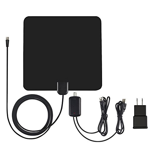 Price comparison product image TV Antenna,  ALOFOX Indoor Amplified Digital HDTV Antenna 50 Mile Range with Amplifier Signal Booster,  USB Power Supply and 13FT High Performance Coaxial Cable- Black