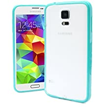 Galaxy S5 Case, MagicMobile® Ultra Thin Slim Fit Protective Hard PC [SNAP-ON] Clear Crystal Frost Skin Cover with Turquoise [BUMPER] Frame