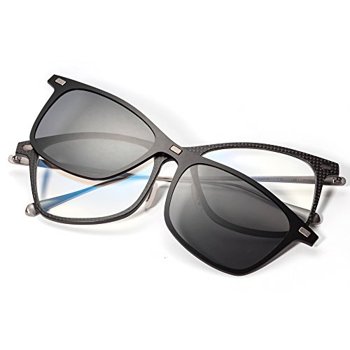 - GLASSESKING Eyeglasses Frame Optical Frame Prescription Eyeglasses Frame With Magnetic Clip-on Sunglasses Carbon Fiber frame (Silver)
