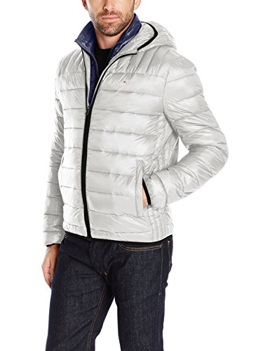 Tommy Hilfiger Men's Ultra Loft Insulated Packable Jacket with Contrast Bib and Hood, Ice/Midnight Bib, L