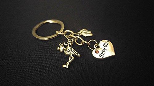 BABY GIRL PINK STONE STORK FEET Silver Metal Charm Keychain Key Ring Unique (Girl Stork Charm)