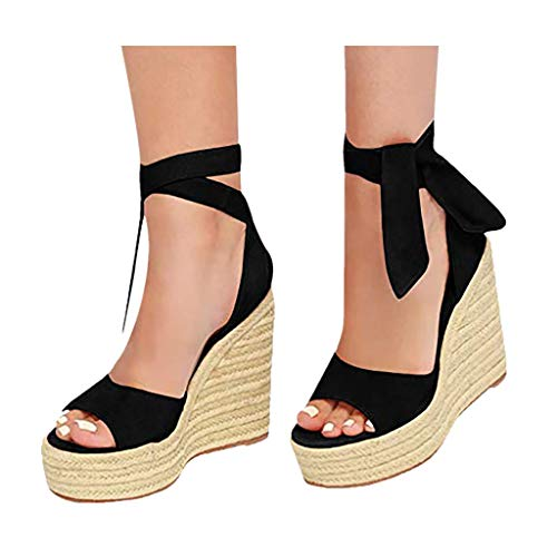 (Cenglings Womens Wedge Sandals, Women Fish Mouth Platform High Heel Pumps Lace-Up Strappy Espadrilles Roman Sandals Black)
