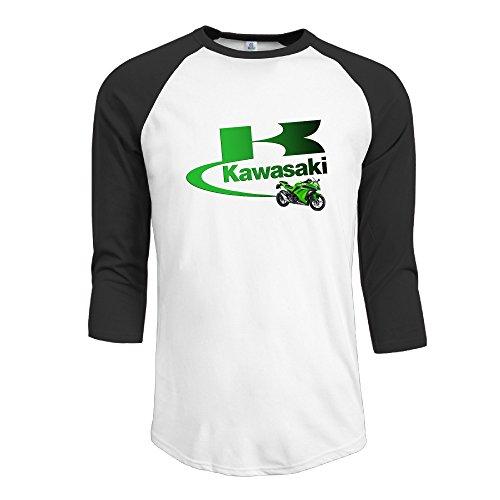 R Hot Men's Kawasaki Logo Jersey Baseball T Shirt Neck Cotton Blend 3/4 Black