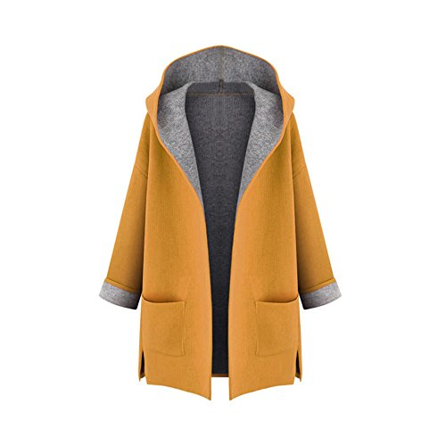 OCHENTA Mujer Abrigo color del caramelo de Manga Larga con Capucha Coat Jacket Amarillo