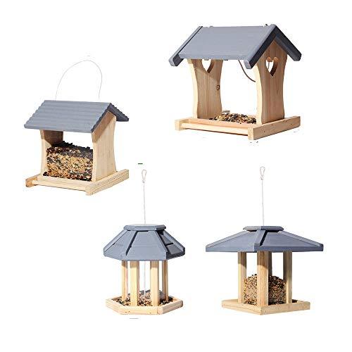 4PCS Wooden Bird Table Garden Birdhouse Feeder Sheltered Hanging Wildbird Feeder, Feeding Station Portable Free Standing Houses 4 Styles.