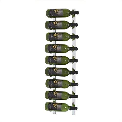 VintageView Wall Mount 9 Bottle Wine Rack in Chrome