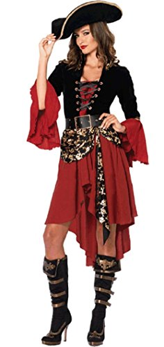 Sagittarius.kyt Pirates of the Caribbean style sexy queen pirate dress costume cosplay Halloween (M)