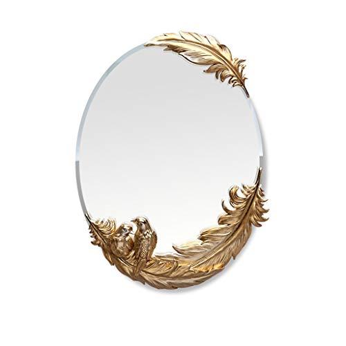 JIANPING Mirror Fashion Dressing Table Mirror Simple Art Wall Hanging Mirror HD Bath Mirror Anti-Fog Wall Mirror (Color : Gold Feather)
