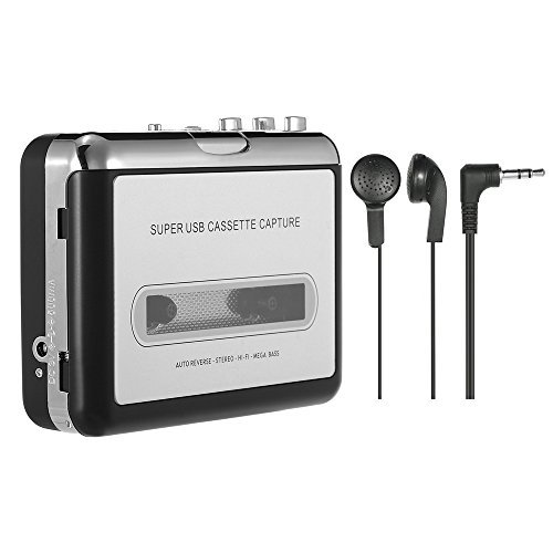 Docooler USB Cassette Capture Cassette Tape-to-MP3 Converter into Computer Stereo HiFi Sound Quality Mega Bass Audio Music Player with Earphone