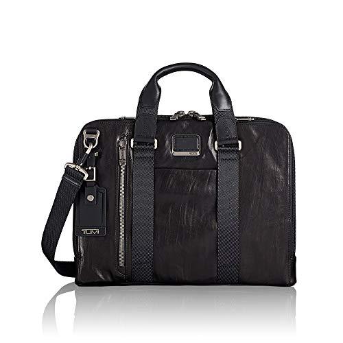 (Tumi Men's Alpha Bravo Aviano Slim Leather Brief Briefcase, Black, One Size)