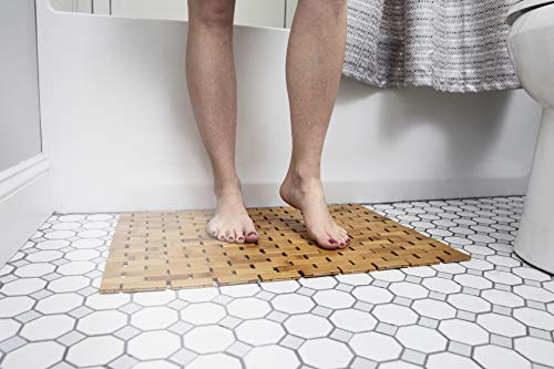 Natural Bamboo Wood Bath Mat: Wooden Door Mat/Kitchen Floor Rug - Bathroom Shower and Tub Mats - ENHANCED FLOOR-GRIPPING RUBBER PAD - Using an upgraded silicone rubber different from other brands, a real gripping pads to protect your flooring and provide you with a more stable footing MULTIPURPOSE USE, INDOOR / OUTDOOR - Place inside bathrooms or as an outdoor shower mat for a spa like feel or to make kitchens / laundry rooms more modern NATURAL BAMBOO WOOD - Lighter than teak wood and stronger than plastic or rubber, our solid bamboo wood mats have a longer lifespan, would not stain, sag or bend - bathroom-linens, bathroom, bath-mats - 416oYKs1UyL -