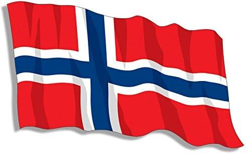 Norwegian Luggage Sticker #30987 2 x 10cm Norway Flag Heart Vinyl Stickers