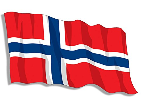 - American Vinyl Norway Waving Flag Shaped Sticker (Oslo Norwegian)